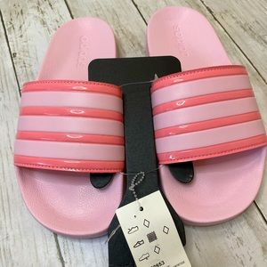 NWT ADIDAS PINK SLIDES, women's size 7